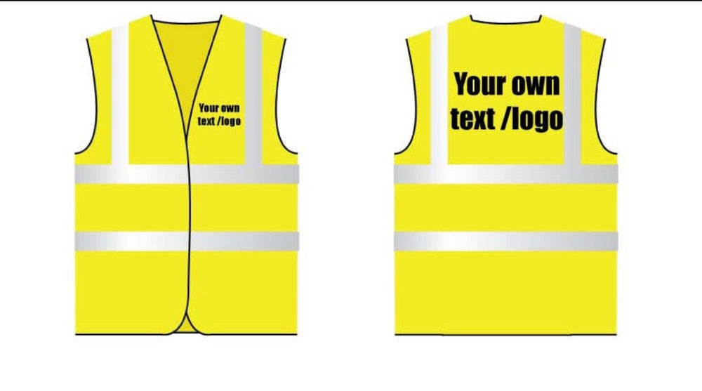 Hi Viz Vest Yellow Personalised Your Own Text Front And Back Safety Vest Reflective Site Work Clothing