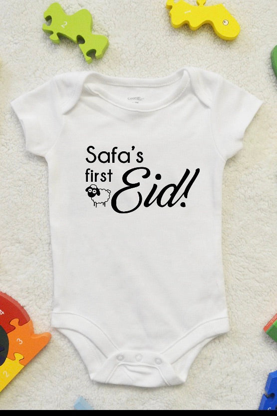 Funny First Eid Baby Grow ( Personalised) - pure-cotton-shop
