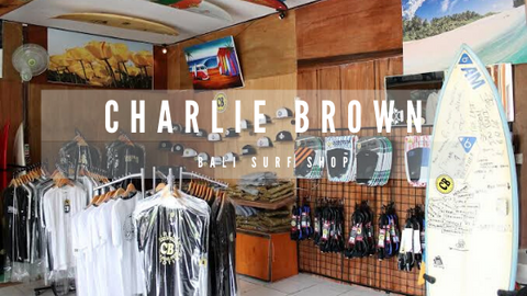 Charlie Brown surf shop with apparels and surf boards.