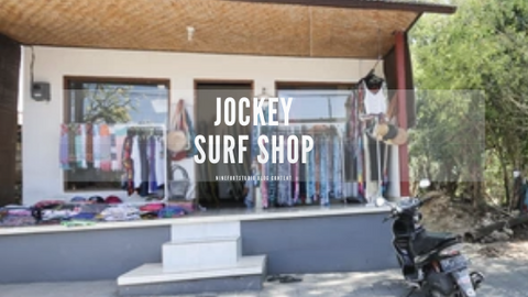 Jockey surf shop with some displays outside