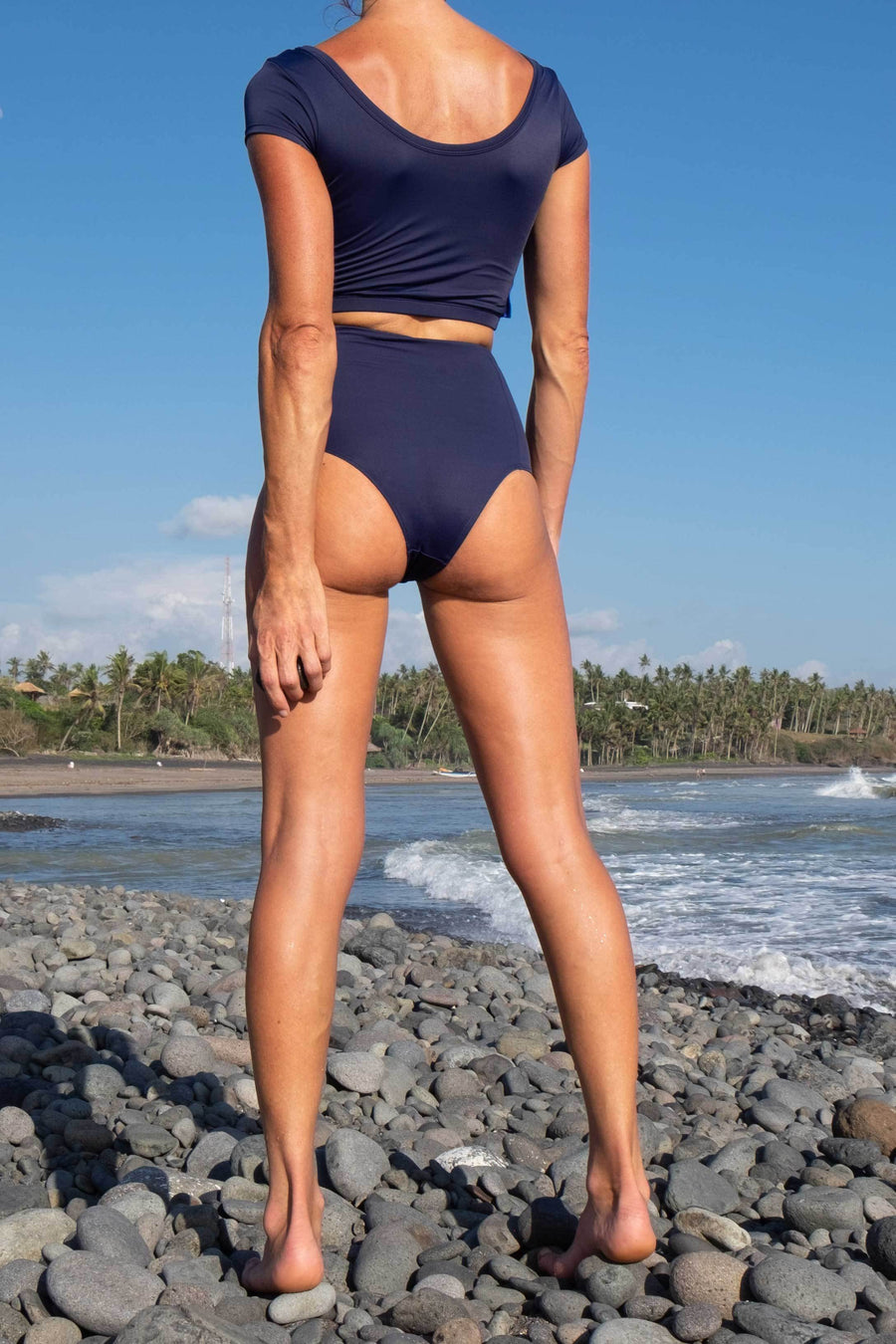 ninefoot surf swimwear for women bikini high waist bottom navy blue