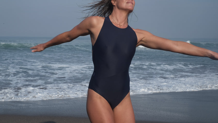 Canggu surf swimsuit one-piece criss cross in Navy Blue
