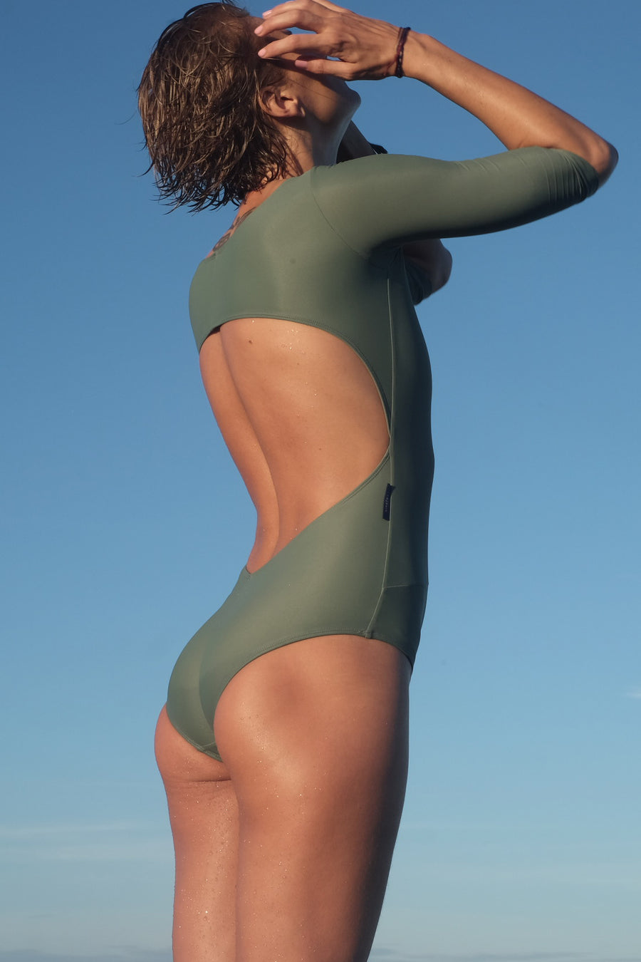one piece surf swimsuit guadalupe in army green