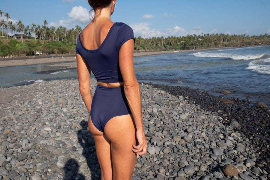 Sanur high waist surf bikini bottom in navy blue