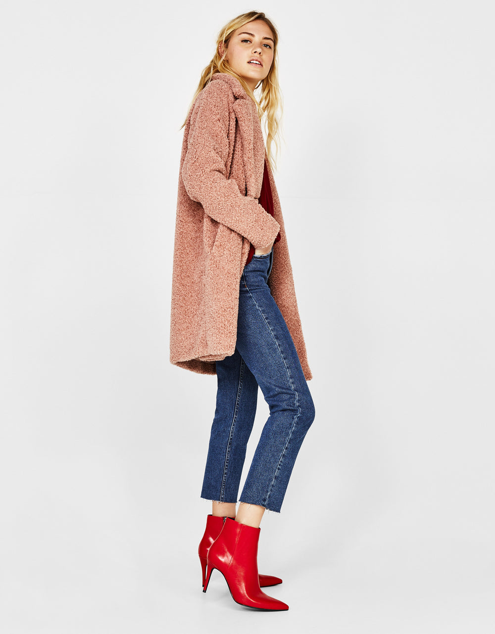 Faux shearling double-breasted coat