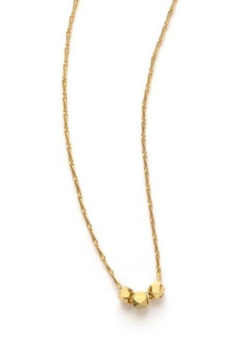 Three Tiny Faceted Gold Beads Necklace - Tigertree
