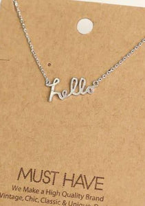 Hello Print Necklace Silver - Tigertree
