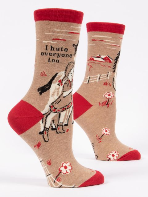 Women's Crew Socks Hate Everyone - Tigertree