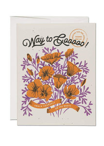 Way To Go Poppies Card - Tigertree