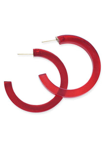 Red Lucite Small Hoop Earrings - Tigertree