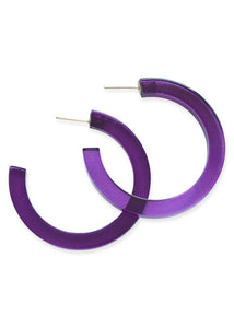 Eggplant Lucite Small Hoop Earrings - Tigertree