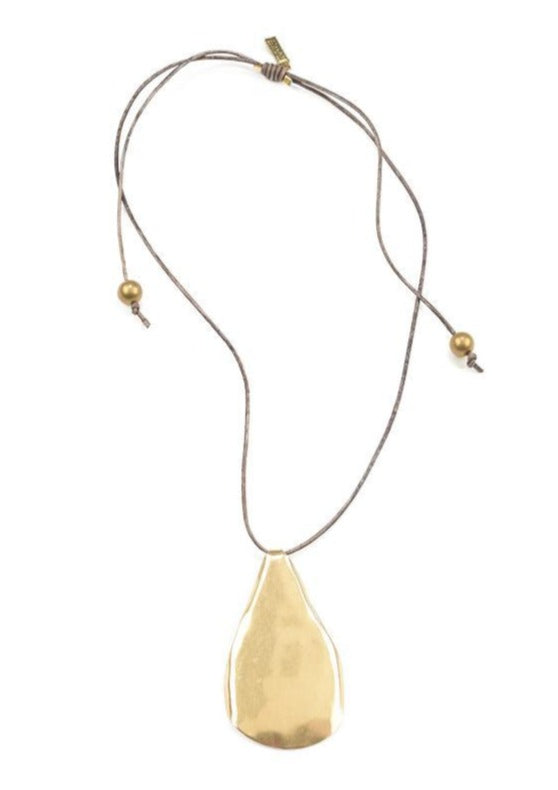Organic Brass Drop Pendant Leather Necklace - Tigertree