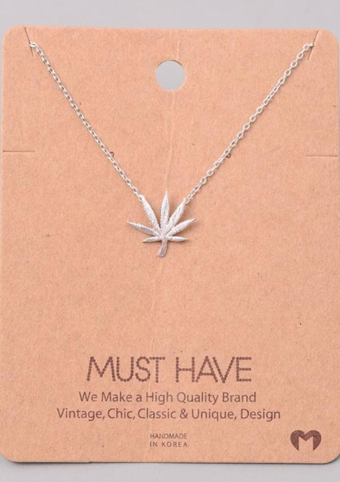 Large Marijuana Necklace Silver - Tigertree