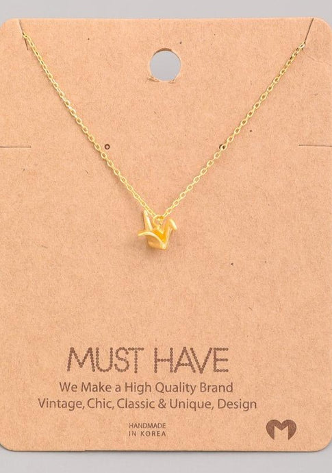 Origami Bird Pendant Necklace Gold - Tigertree