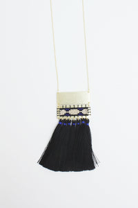 Boho Tassel Necklace Black