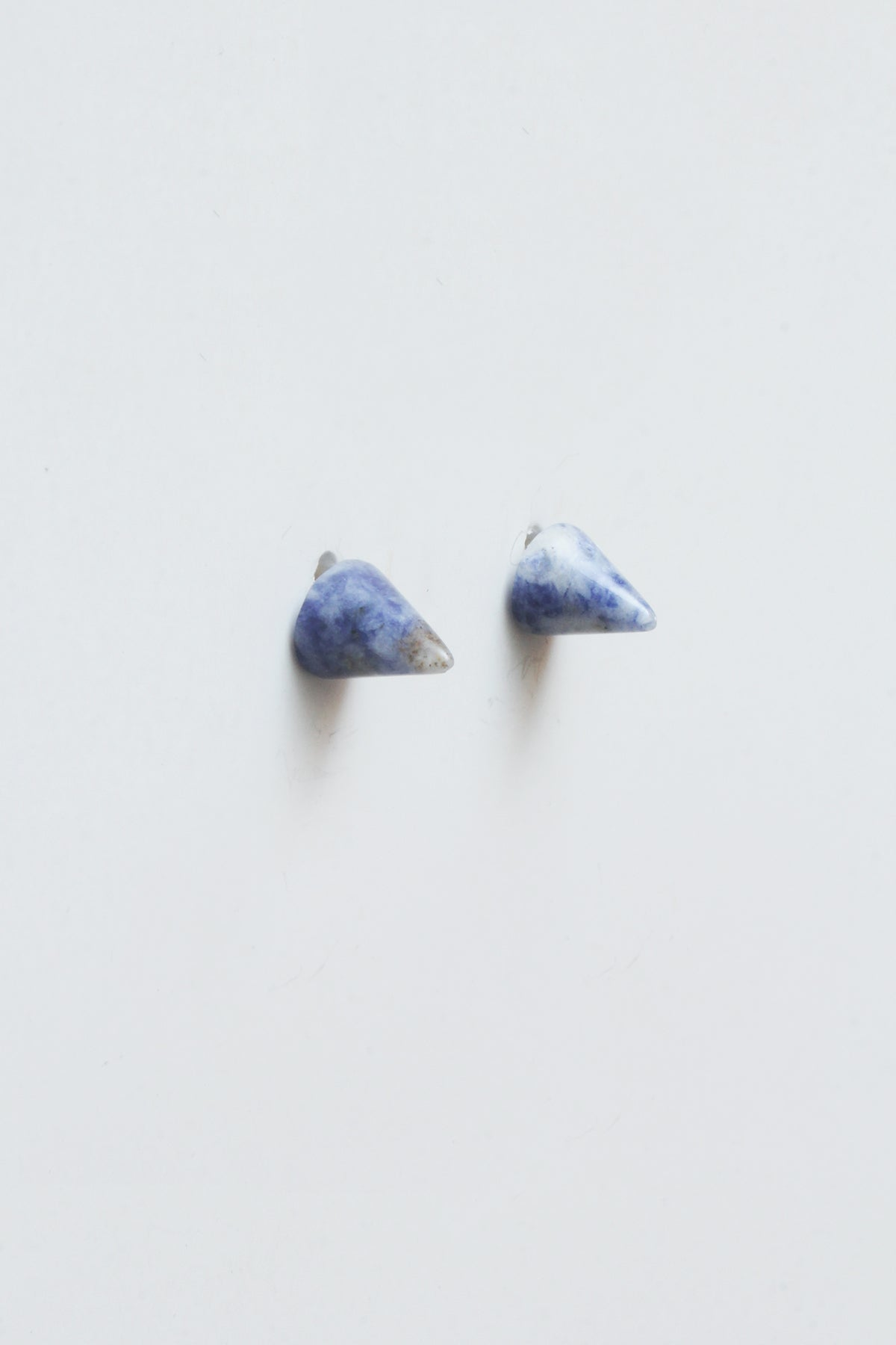 Conical Gemstone Post Earrings Blue