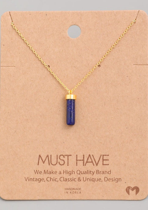 Mini Cylinder Stone Pendant Necklace Navy - Tigertree