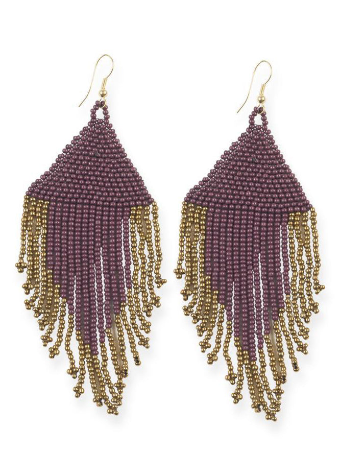 Port & Gold Fringe Earrings - Tigertree