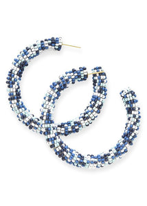 Blue Confetti Bead Hoop Earring - Tigertree