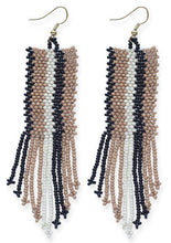 Load image into Gallery viewer, Natural Black Ivory Stripe Fringe Earrings - Tigertree