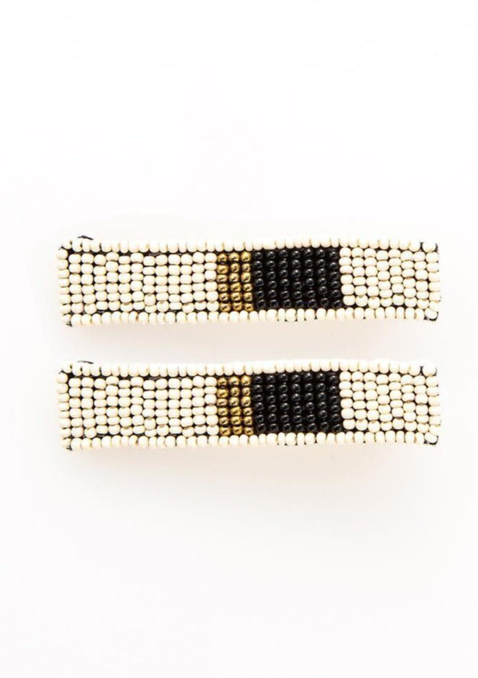Ivory Black & Gold Beaded Hair Clip - Tigertree