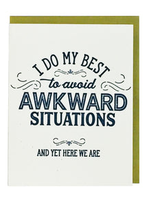 Awkward Situations Letterpress Card - Tigertree