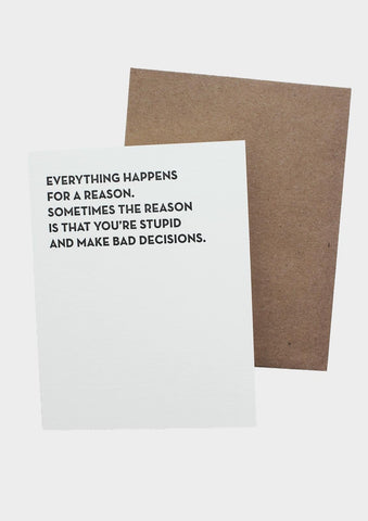Bad Decisions Card