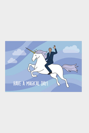 Obama on a unicorn