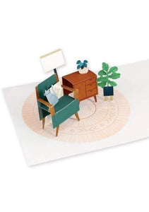 Modern Cat in Room Pop Up Card - Tigertree