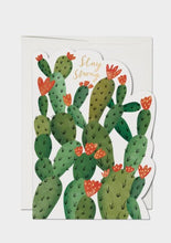 Load image into Gallery viewer, die cut greeting card with cactus print and stay strong