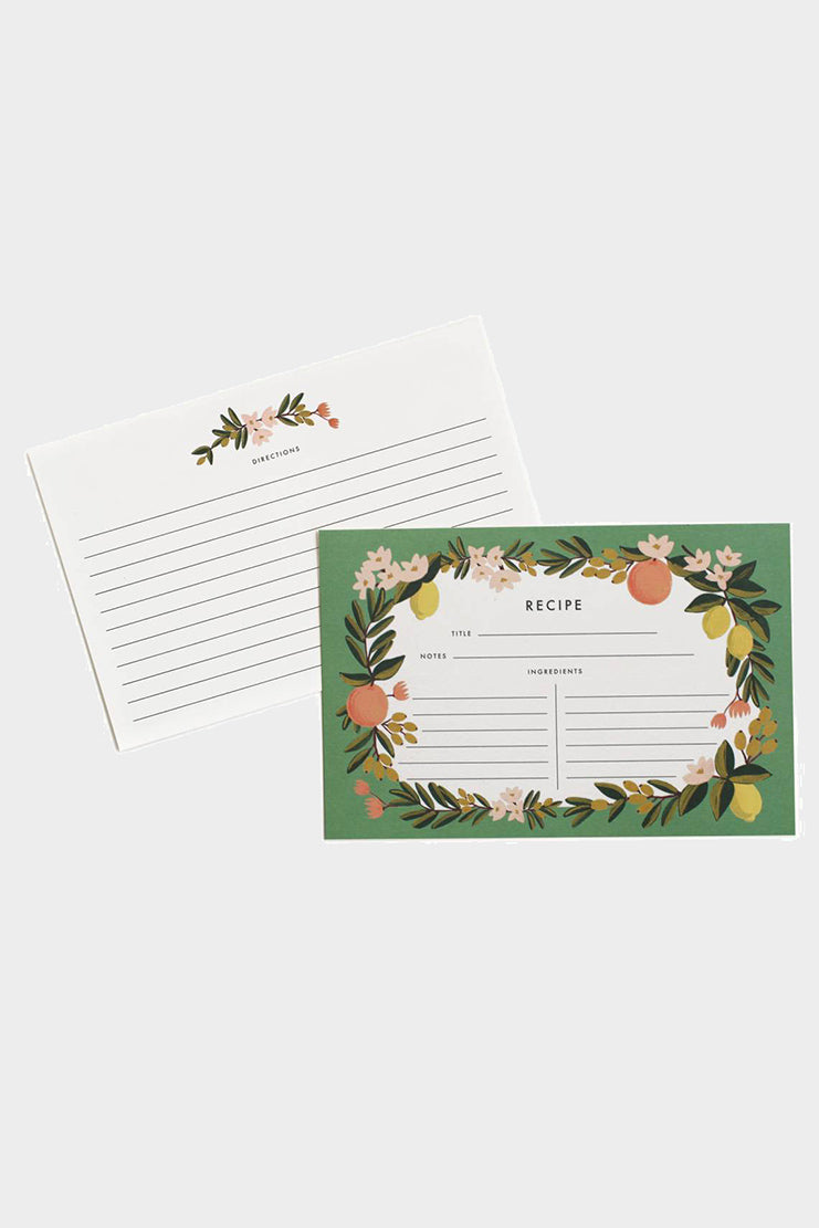 rifle paper co citrus recipe cards