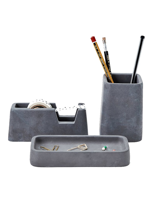 Concrete Desk Set - Charcoal - Tigertree