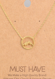 Mountain Range Pendant Necklace Gold - Tigertree