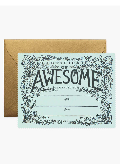 Certificate of Awesome Card - Tigertree