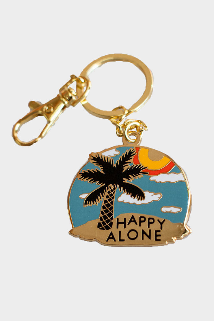 stay home club happy alone keychain