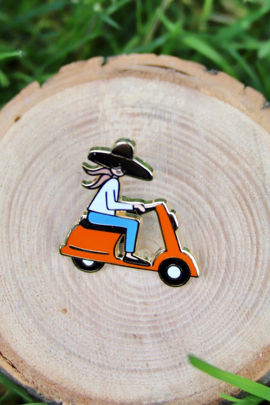 Scooter Girl Enamel Pin - Tigertree