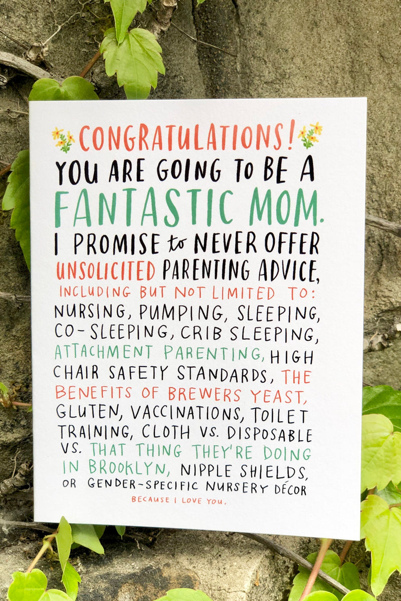 emily mcdowel unsolicited advice baby card