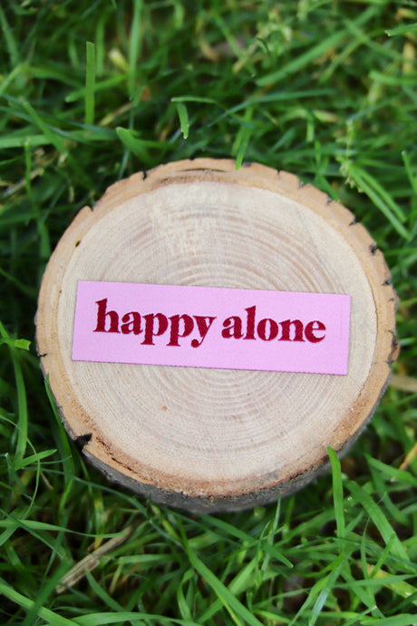 Happy Alone Tiny Woven Patch - Tigertree