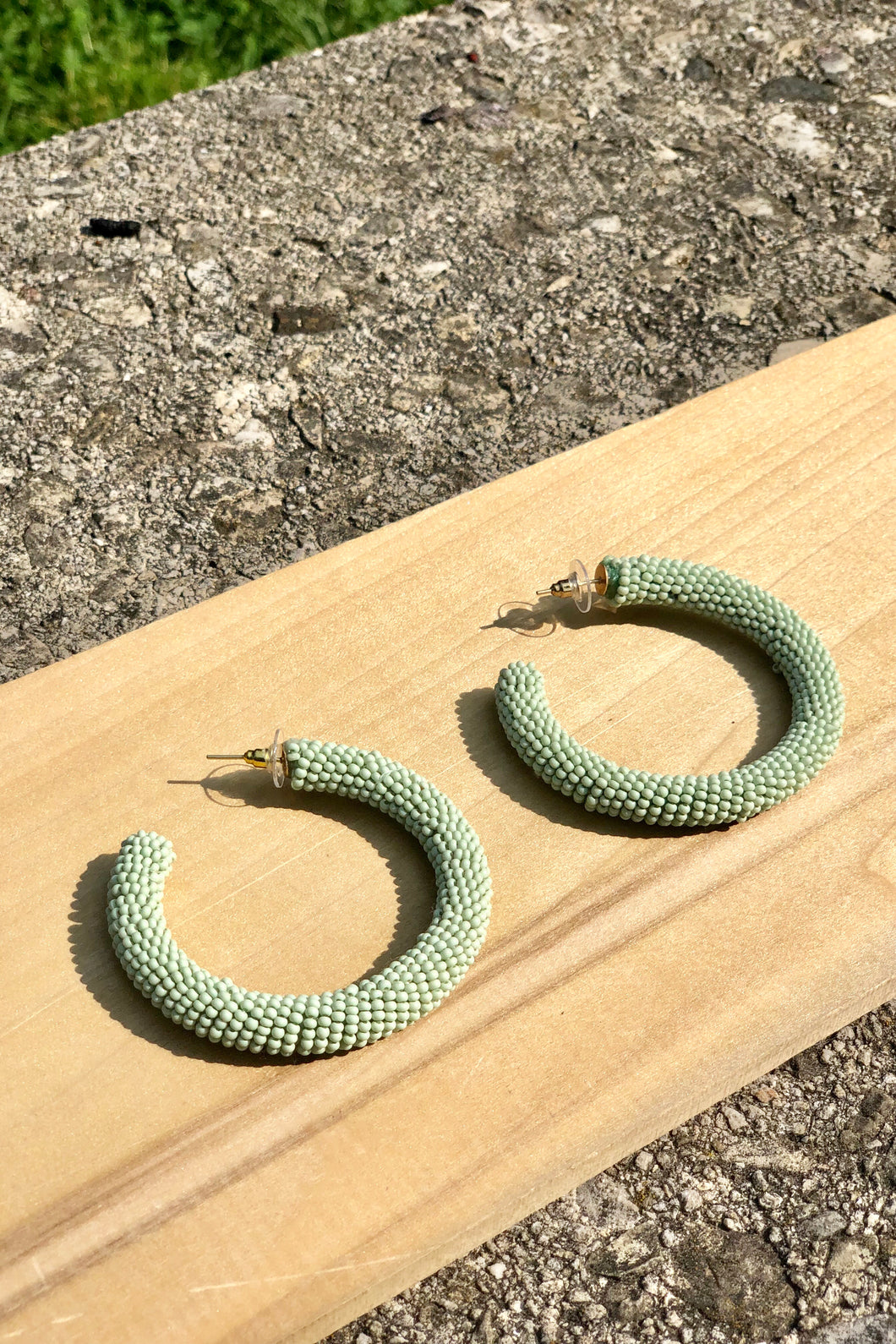 Mint Bead Hoop Earrings - Tigertree