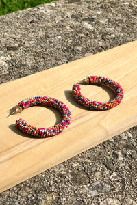 confetti seed bead earrings