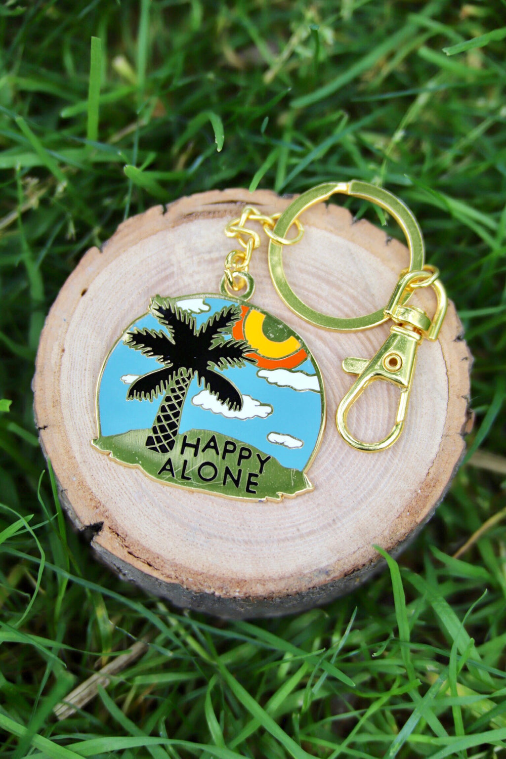 happy alone keychain