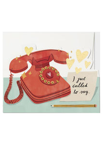 "card with rotary phone and post-it not that says ""I just called"""