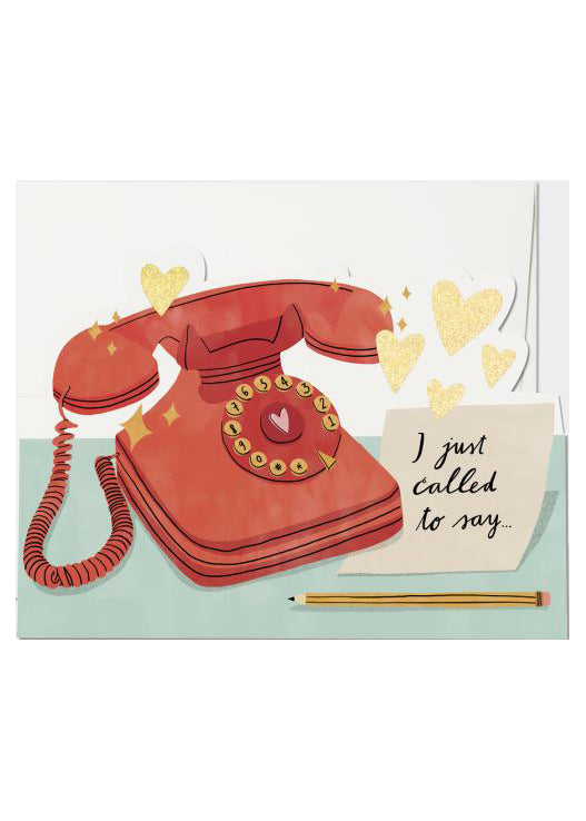 card with rotary phone and post-it not that says