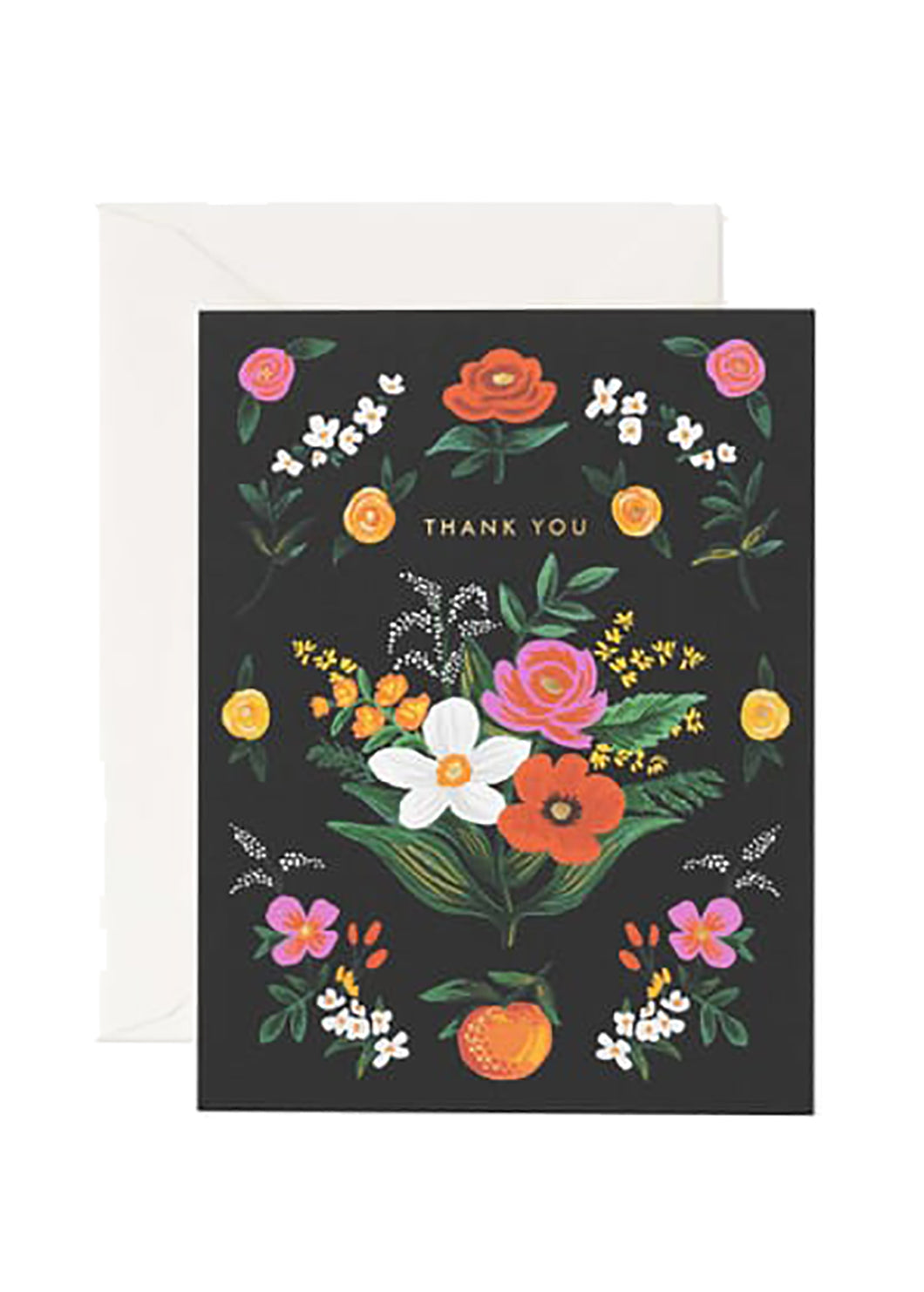 Gold Floral Thank You Card - Tigertree