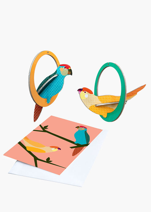 Swinging Parakeets Popout Card - Tigertree