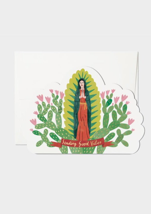 "card with flowering cactus, saint, and ""sending good vibes"""
