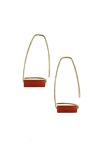 Load image into Gallery viewer, Trapezoid Carnelian Earrings - Tigertree