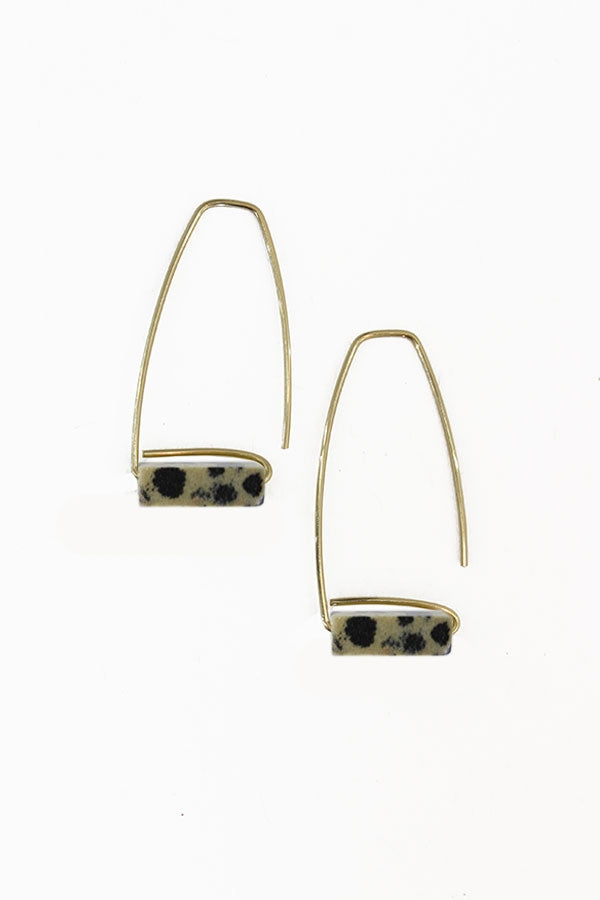 Trapezoid Dalmatian Jasper Earrings