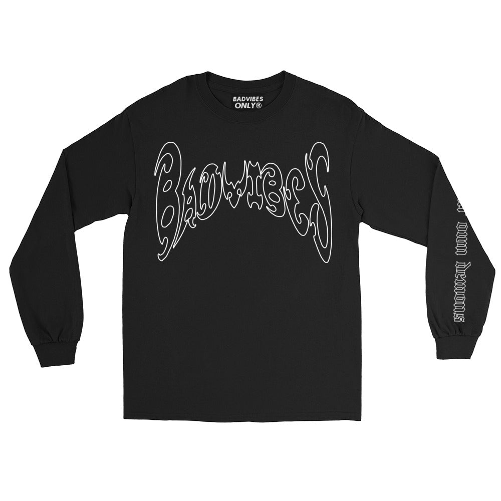BADVIBESONLY® WE CREATE OUR OWN DEMONS BLACK LONG SLEEVE T-SHIRT (FRONT)