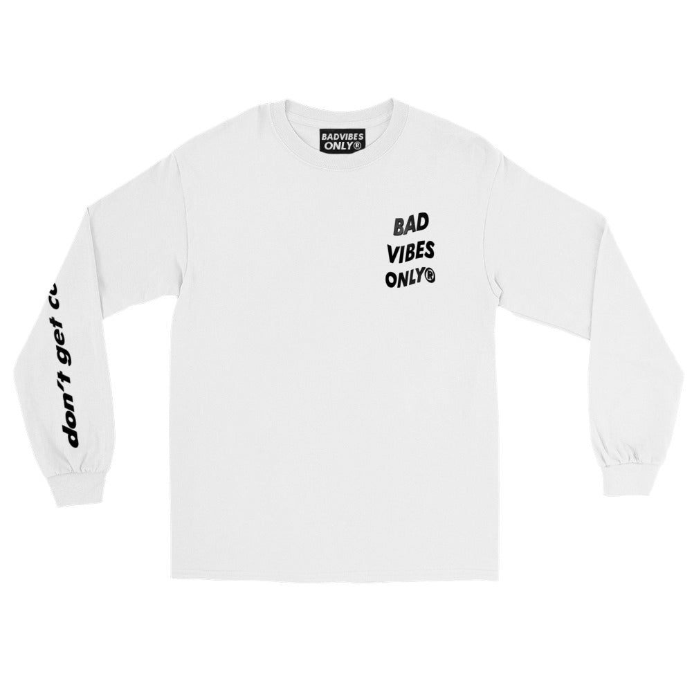 BADVIBESONLY® NO BAD ENERGY CLUB WHITE LONG SLEEVE TEE (FRONT)